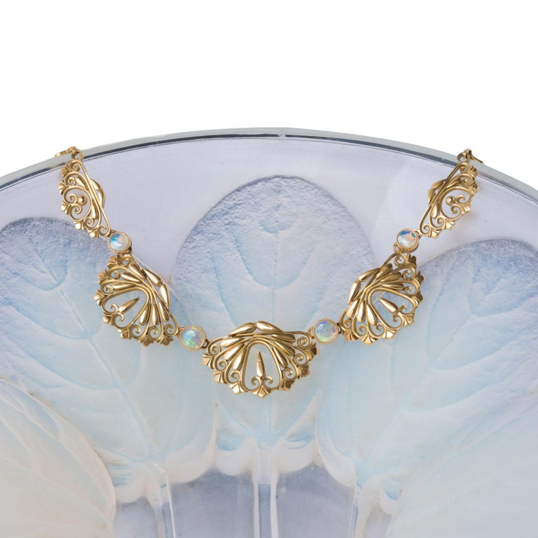 1900s French Opal Gold Drapery Necklace  For Sale 1