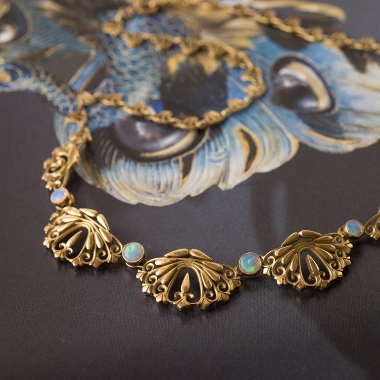Women's 1900s French Opal Gold Drapery Necklace  For Sale