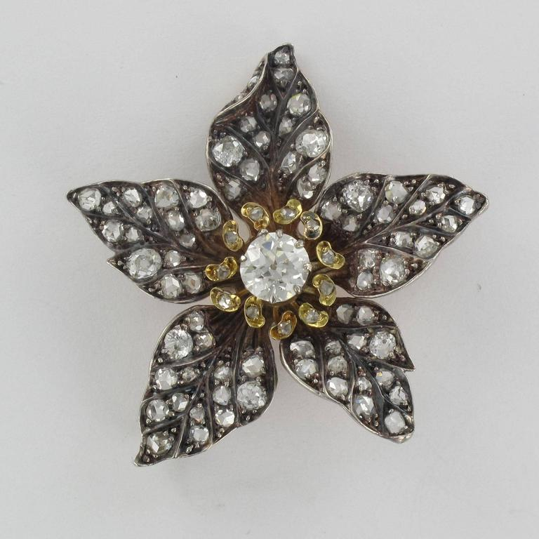 French Antique 19th Century Diamond Silver Gold Flower Pendant For Sale 12