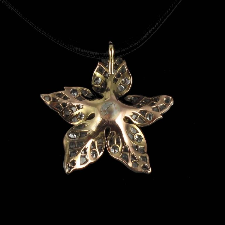 French Antique 19th Century Diamond Silver Gold Flower Pendant For Sale 10