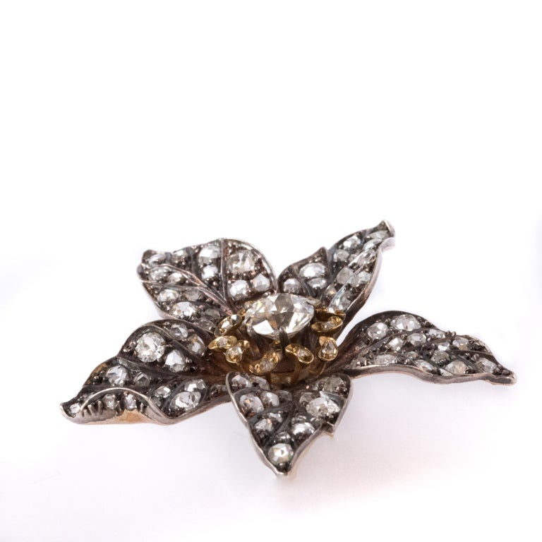 French Antique 19th Century Diamond Silver Gold Flower Pendant For Sale 7