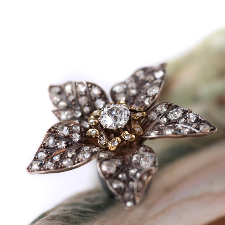 Napoleon III French Antique 19th Century Diamond Silver Gold Flower Pendant For Sale