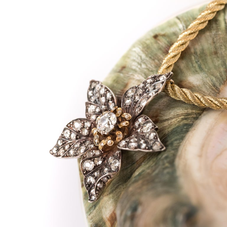 French Antique 19th Century Diamond Silver Gold Flower Pendant For Sale 3