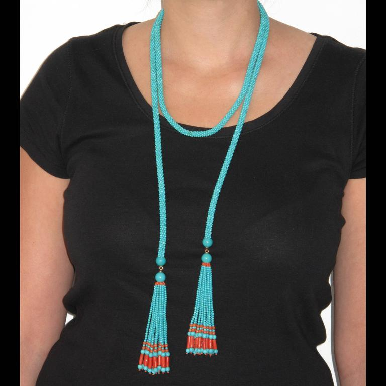 Women's French Turquoise Coral Sautoir Necklace For Sale