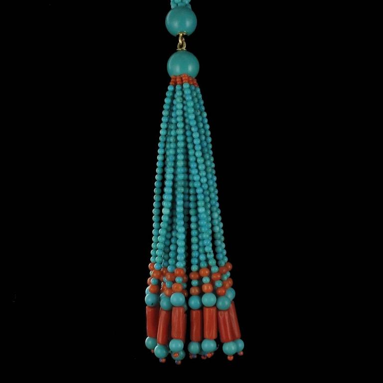 French Turquoise Coral Sautoir Necklace For Sale 4