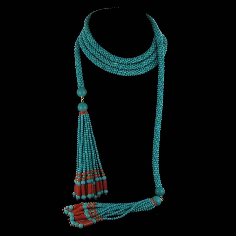 French Turquoise Coral Sautoir Necklace In As New Condition For Sale In Poitiers, FR