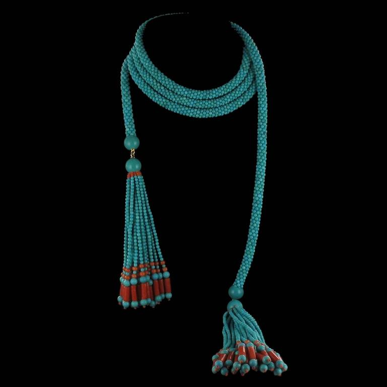 French Turquoise Coral Sautoir Necklace For Sale 2