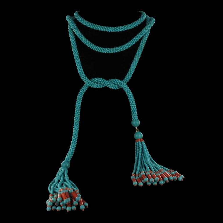 French Turquoise Coral Sautoir Necklace For Sale 3