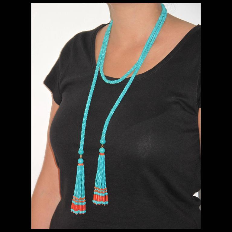 French Turquoise Coral Sautoir Necklace For Sale 1