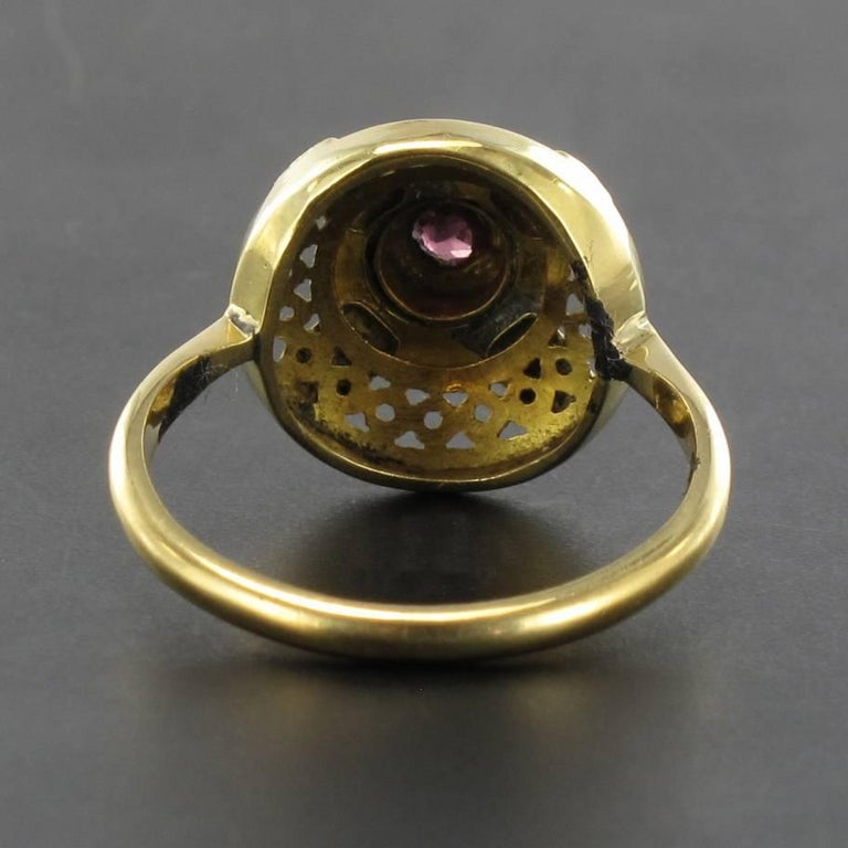 Women's French Antique Natural Pearl Garnet Gold Set  For Sale