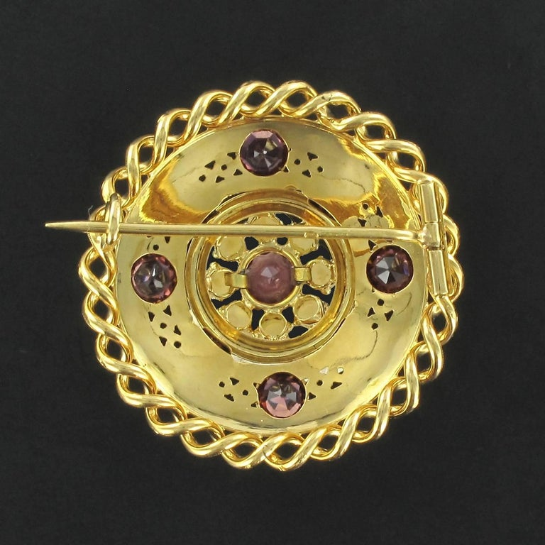 French Antique Natural Pearl Garnet Gold Set  For Sale 2