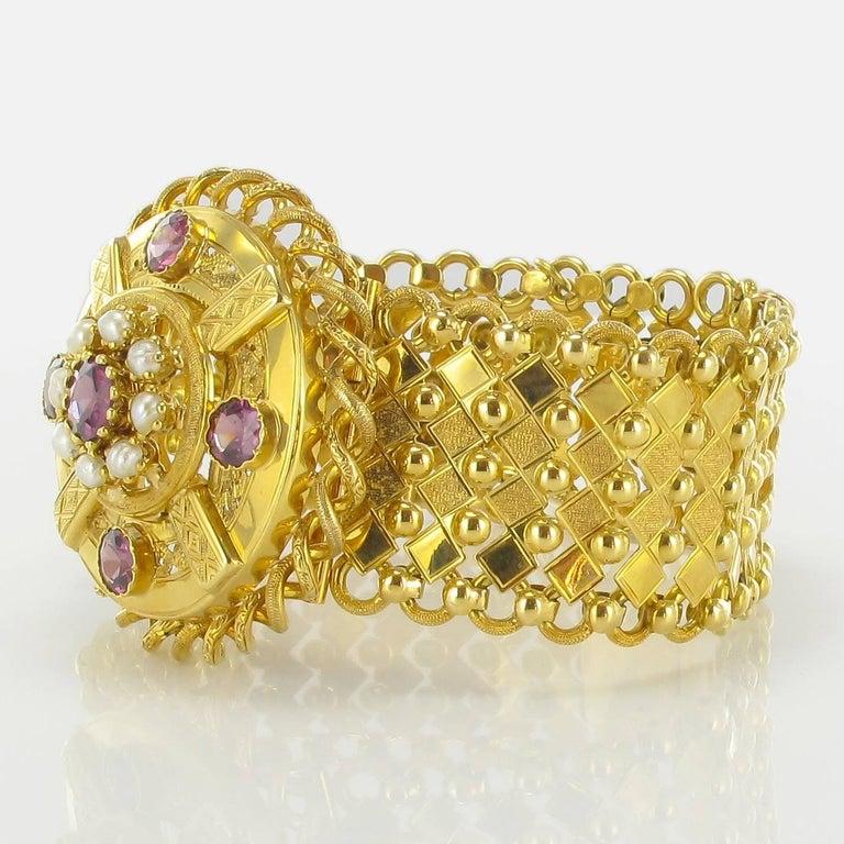 French Antique Natural Pearl Garnet Gold Set  For Sale 3