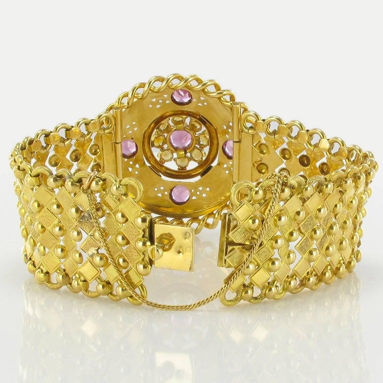 French Antique Natural Pearl Garnet Gold Set  For Sale 5