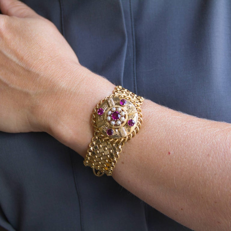 French Antique Natural Pearl Garnet Gold Set  For Sale 4