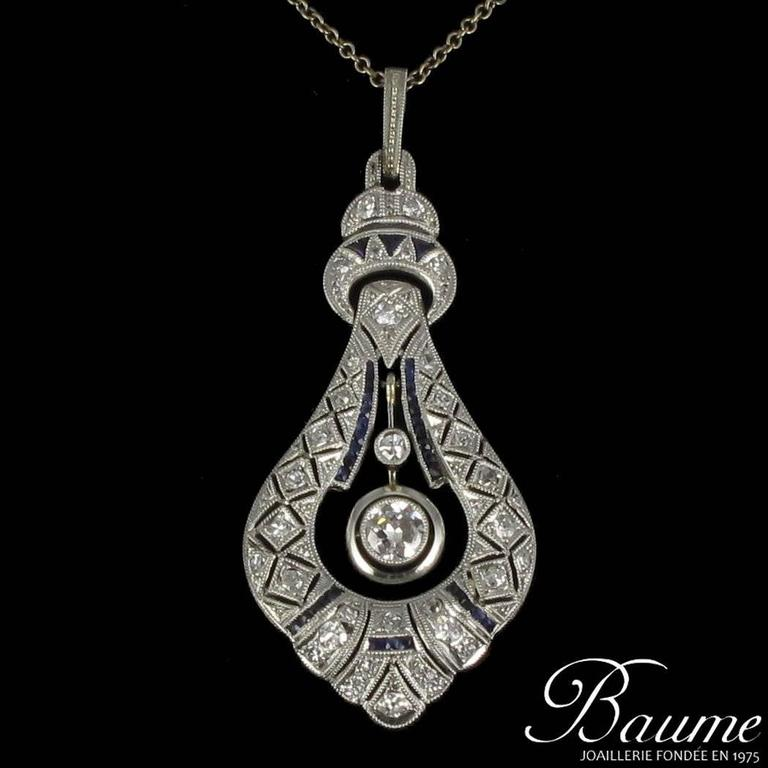 French Art Deco Pearl Sapphire Diamond Platinum Pendant 2