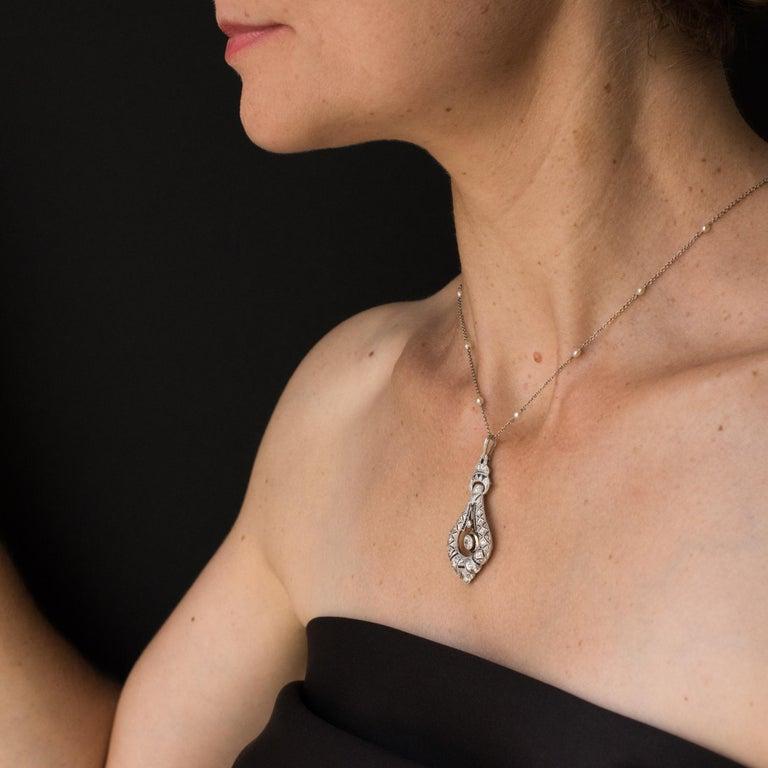 French Art Deco Pearl Sapphire Diamond Platinum Pendant For Sale 5