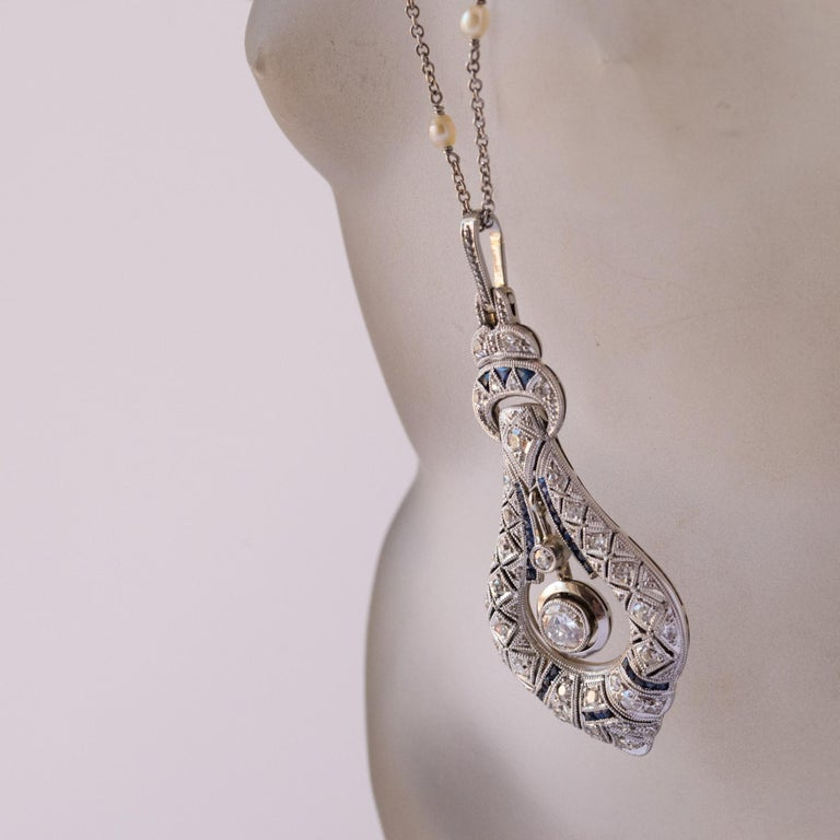 French Art Deco Pearl Sapphire Diamond Platinum Pendant For Sale 4