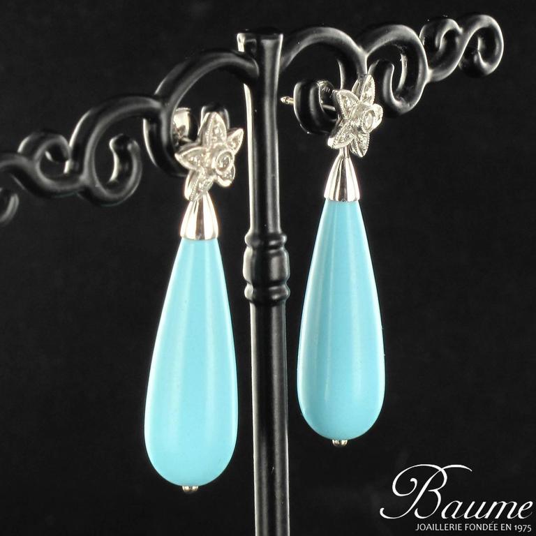 Unique Turquoise Diamond Gold Stud Teardrop Earrings  2