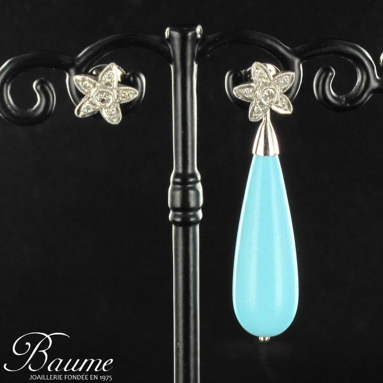 Unique Turquoise Diamond Gold Stud Teardrop Earrings  4