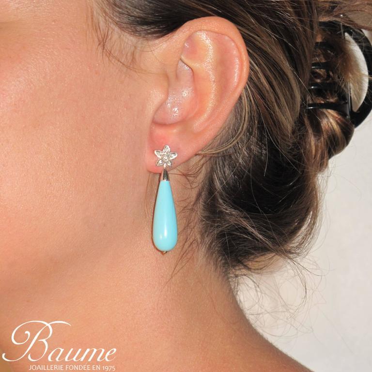 Unique Turquoise Diamond Gold Stud Teardrop Earrings  7