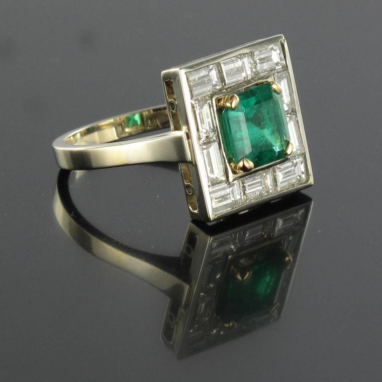 amazing emerald and baguette ring for