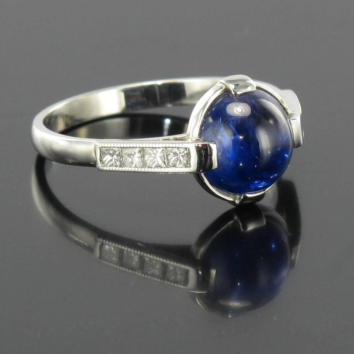 unique sapphire cabochon and princess cut ring for