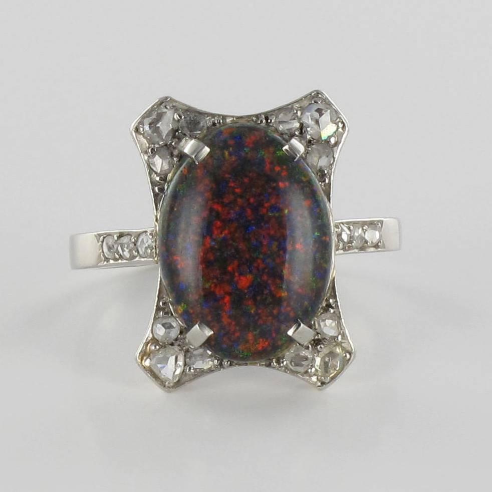 Art Deco Black Opal Diamond Platinum Ring For Sale at 1stdibs