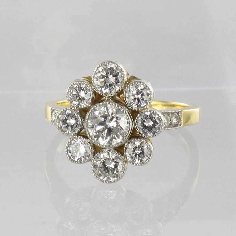 gold platinum cluster engagement ring for sale at
