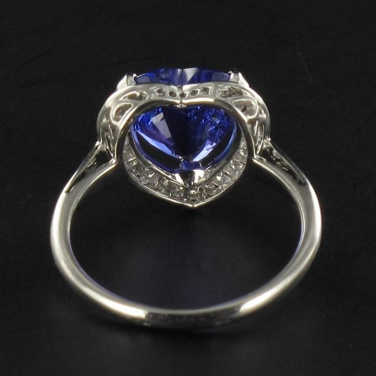 Heart Shaped Tanzanite Diamond Gold Ring For Sale 1
