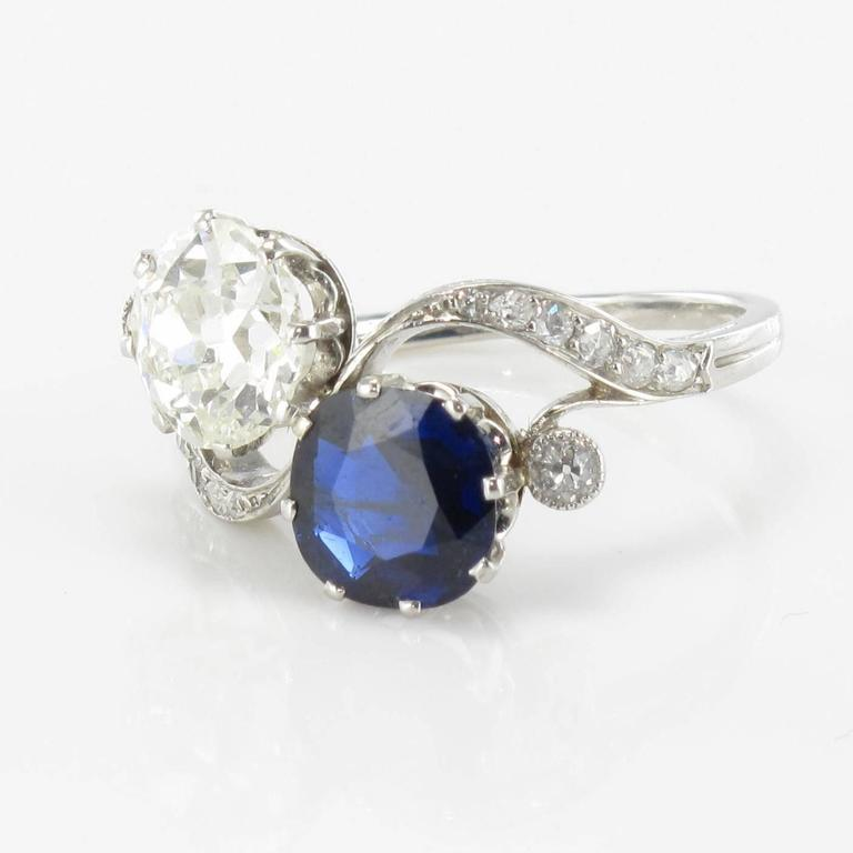 1920s French Sapphire Diamond Gold Toi et Moi Ring For Sale 7