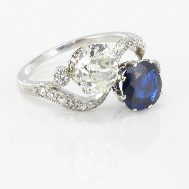 1920s French Sapphire Diamond Gold Toi et Moi Ring For Sale 8