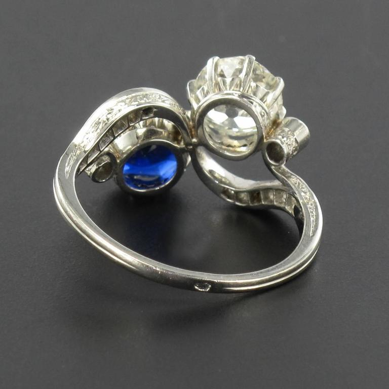 1920s French Sapphire Diamond Gold Toi et Moi Ring For Sale 10