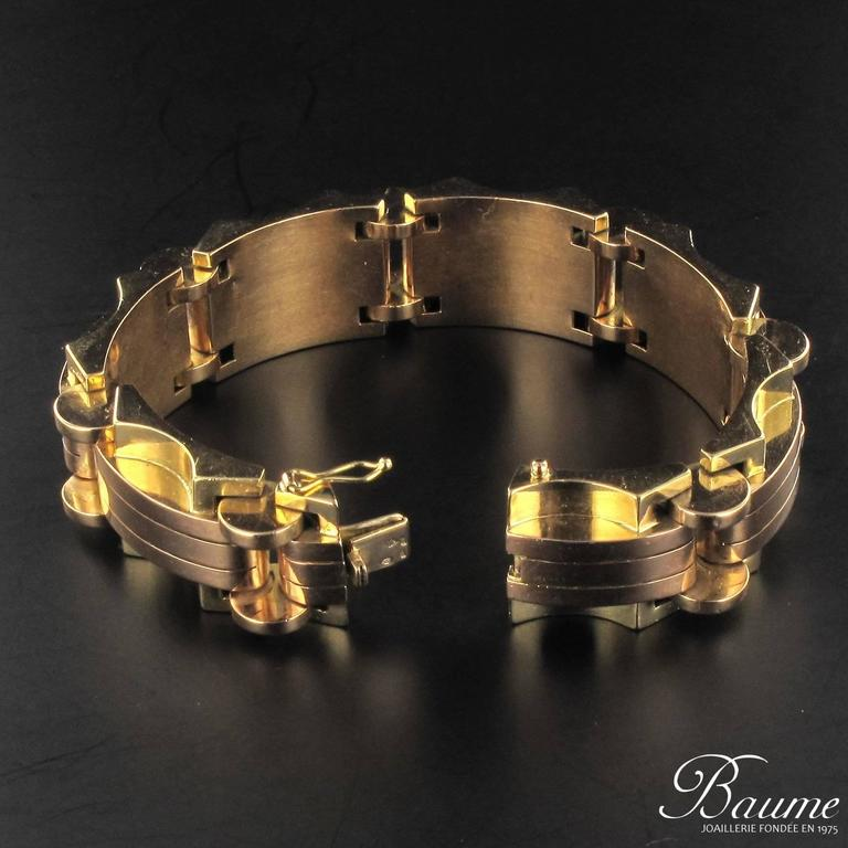 1940s French Two Color Gold Tank Bracelet For Sale 11