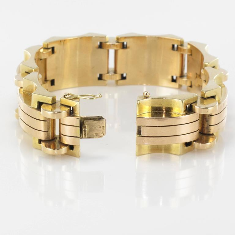 1940s French Two Color Gold Tank Bracelet For Sale 10