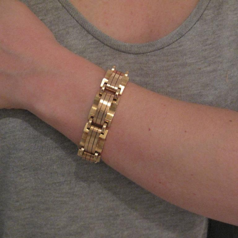 1940s French Two Color Gold Tank Bracelet For Sale 9
