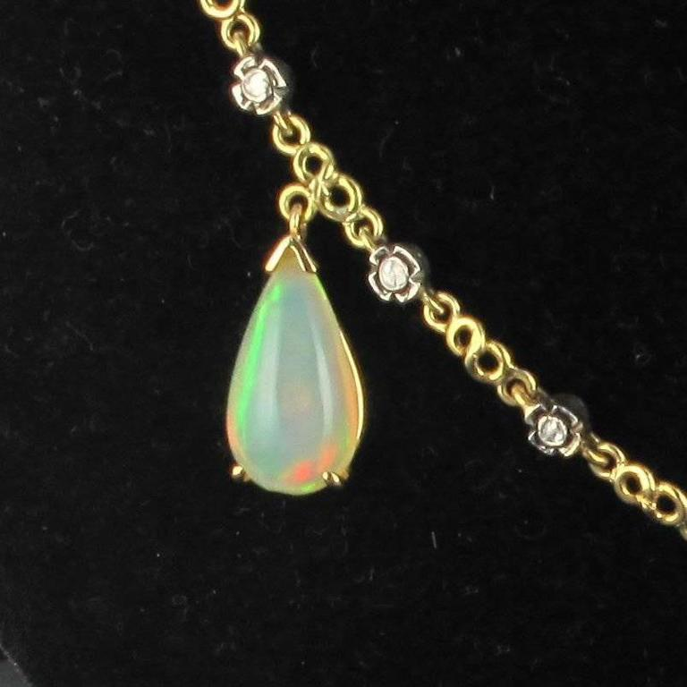 Baume 5.87 Carats Opal Diamond Gold Necklace  For Sale 1