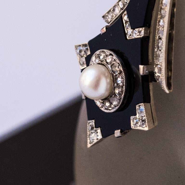 French Art Deco Fine Pearl Onyx Diamond Platinum Pendant In New Condition For Sale In Poitiers, FR