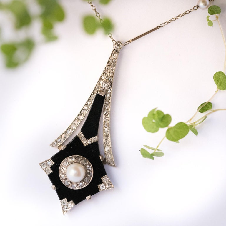 Women's French Art Deco Fine Pearl Onyx Diamond Platinum Pendant For Sale
