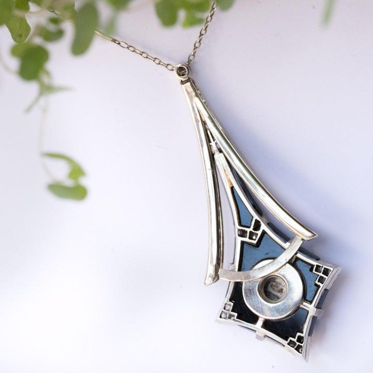 French Art Deco Fine Pearl Onyx Diamond Platinum Pendant For Sale 5