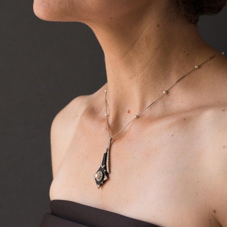 French Art Deco Fine Pearl Onyx Diamond Platinum Pendant For Sale 1