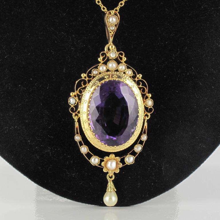 1850s Napoleon Iii Antique Fine Pearl Amethyst Gold