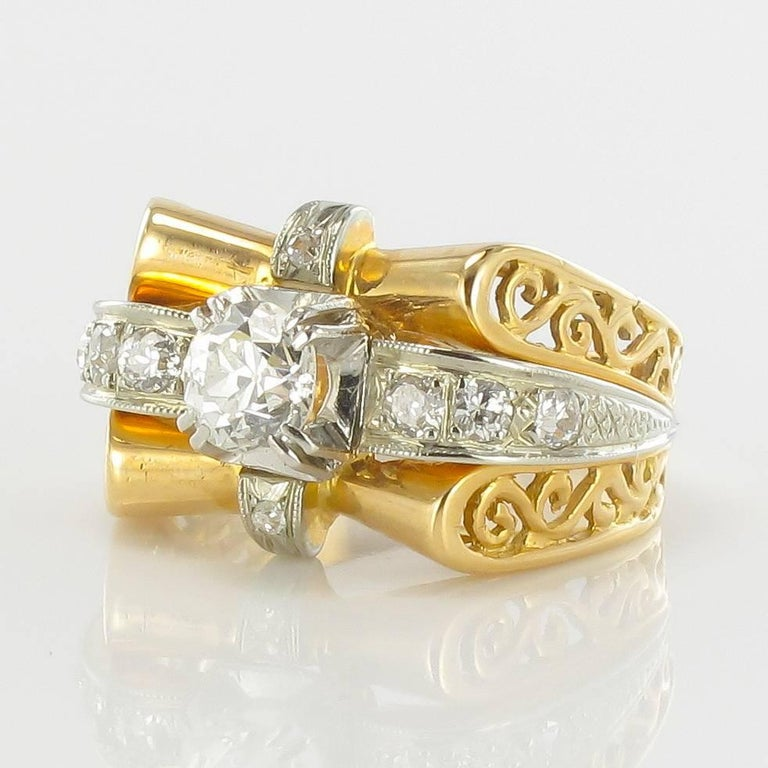 1960s French Diamond Gold Ring  In New Condition For Sale In Poitiers, FR