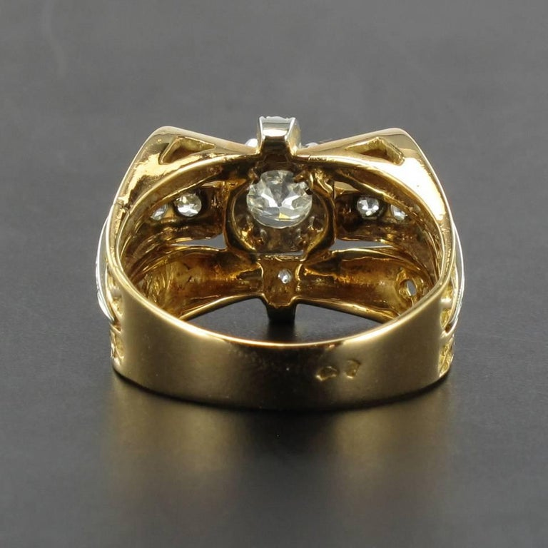 Women's 1960s French Diamond Gold Ring  For Sale