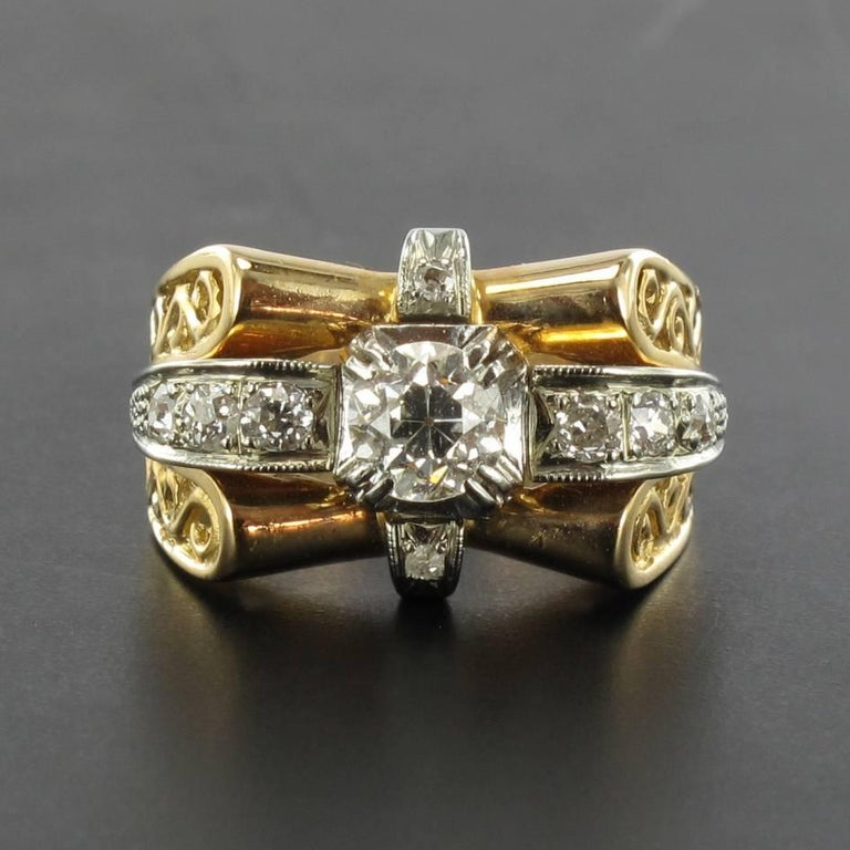 1960s French Diamond Gold Ring  For Sale 1