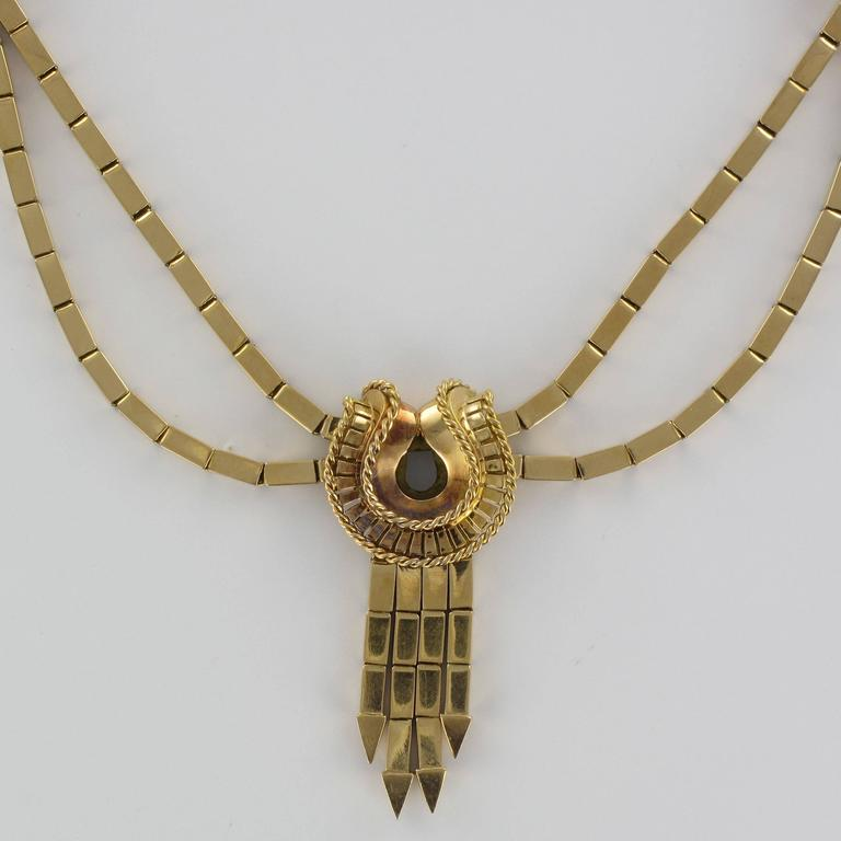 1940s French Retro 18 Karat Yellow Gold Tassel Necklace  For Sale 3
