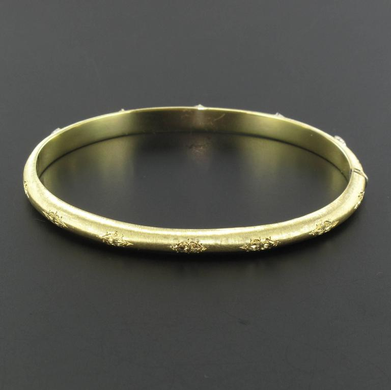 Women's Brushed Gold Diamond Bangle Bracelet  For Sale