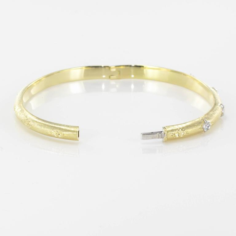 Brushed Gold Diamond Bangle Bracelet  For Sale 1