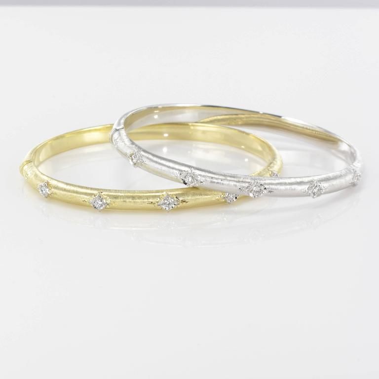 Brushed Gold Diamond Bangle Bracelet  For Sale 2