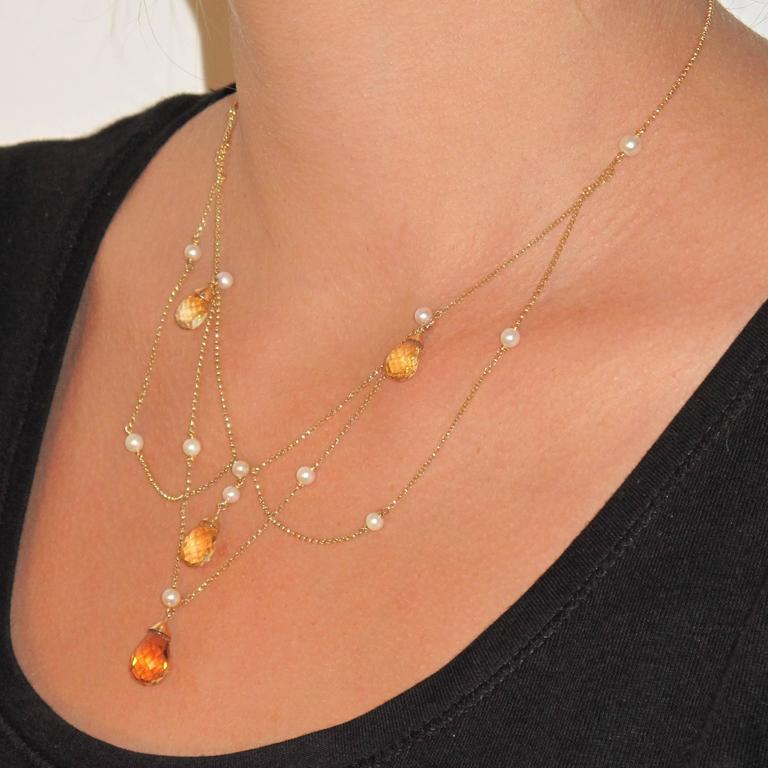 New 14.70 Carat Citrine Cultured Pearl 18 Karat Gold Drapery Chain Necklace In New Condition For Sale In Poitiers, FR