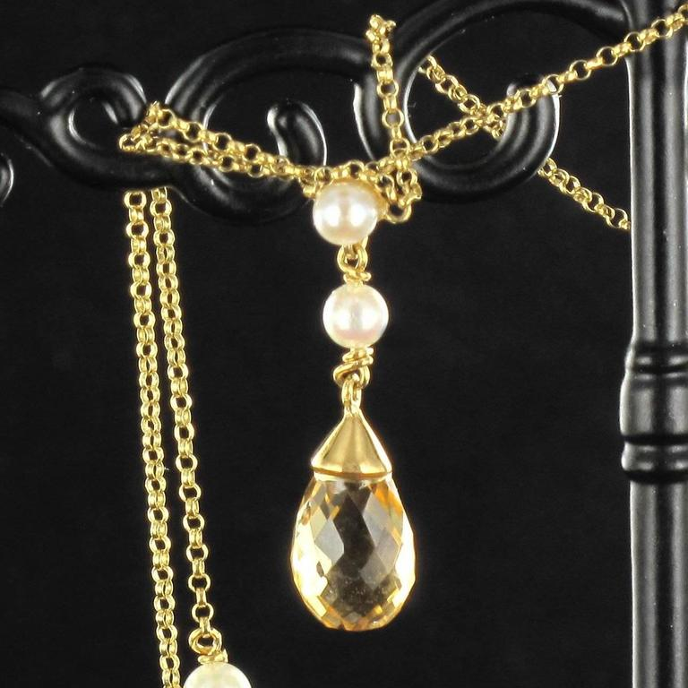New 14.70 Carat Citrine Cultured Pearl 18 Karat Gold Drapery Chain Necklace For Sale 1